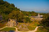 Ancient Mayan City, Archaeological Complex With Ruins, Palace, Temples, Pyramids. Palenque Ruins Chi poster