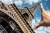Eiffel Tower In Paris On Blue Sky Background Wide Angle Measuring Tower Palm poster