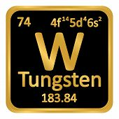Periodic Table Element Tungsten Icon On White Background. Vector Illustration. poster