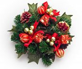 pic of christmas wreath  - Christmas wreath decoration with red golden balls and little gifts - JPG