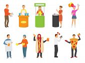 Advertising People Vector Advertiser Or Promoter Character Promoting Advertisement On Promo Stand Or poster