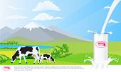 Milk Glass On Milk Splash. Beautiful Nature Landscape Mountain And Meadow Fields With Cows. Illustra poster
