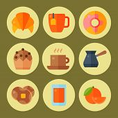 Breakfast Healthy Food Meal Icons Drinks Flat Design Bread Egg Lunch Healthy Meat Menu Restaurant Ve poster