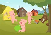 Three Little Pigs Near Their Small Houses And Scary Wolf. Three Pigs And House, Fairytale Story. Vec poster