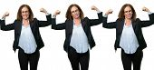 Middle age business woman showing biceps expressing strength and gym concept, healthy life its good  poster