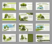 Landscape Design Studio Business Card For Landscaping, Gardening And Lawn Care Service Template. Gre poster