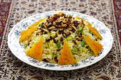 zereshk polo with tahdig, saffron barberry rice with scorched rice, iranian persian cuisine poster
