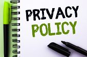 Text Sign Showing Privacy Policy. Conceptual Photo Document Information Security Confidential Data P poster