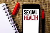 Handwriting Text Sexual Health. Concept Meaning Std Prevention Use Protection Healthy Habits Sex Car poster