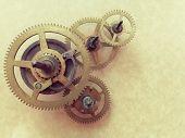 Top view of clockwork gears poster