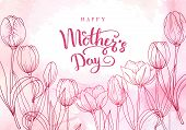 Happy Mothers Day. Greeting Card With Mothers Day. Floral Background. poster