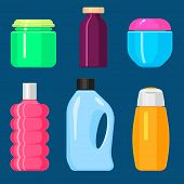 Bottles Vector Household Chemicals Supplies And Cleaning Housework Plastic Detergent Liquid Domestic poster