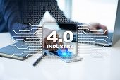 Industry 4.0 Iot Internet Of Things. Smart Manufacturing Concept. Industrial 4.0 Process Infrastruct poster
