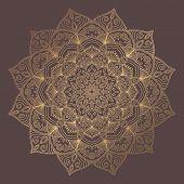 Mandala Vector Design Element. Golden Round Ornament Decoration. Line Flower Pattern. Stylized Flora poster