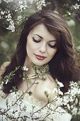 A Beautiful Young Girl Stands Among The Flowering Trees. White Flowers. Spring. A Girl With Her Hair poster