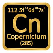 Periodic Table Element Copernicium Icon On White Background. Vector Illustration. poster