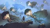Dreamlike Scenery Of A Man Looking At Giant Jellyfishes Floating In The Sky, Digital Art Style, Illu poster
