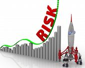 The Graph Of Risk Growth. Graph Of Rapid Growth With Word Risk And Rocket. 3d Illustration poster