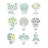 Set Of Life Logo Templates With Silhouettes Of Human Body And Green Leaves Of Trees. Abstract Emblem poster