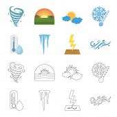 Humidity, Icicles, Thunderbolt, Windy Weather. Weather Set Collection Icons In Cartoon, Outline Styl poster