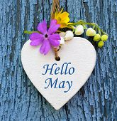 Hello May Greeting Card With Decorative White Heart And Spring Flowers On Old Blue Wooden Background poster