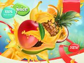 Mix Fruits. Splash Of Juice. Mango, Banana, Pineapple, Papaya. 3d Realistic Vector, Package Design poster