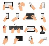 Hands With Gadgets Vector Hand Holding Phone Or Tablet Illustration Set Of Character Working On Digi poster