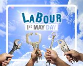 Labour Day Concept,1st May, The Hands Of A Mechanic Man Is Holding Instruments With A Blue Sky And C poster