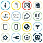 Hardware Icons Set With Usb Cable, Gamepad, Global Connection And Other Smartphone Elements. Isolate poster