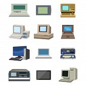 Computer Technology Vector Evolution Isolated Display. Telecommunication Equipment Metal Pc Monitor  poster