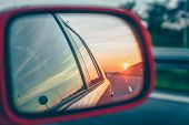 Sunset Reflection In The Rear View Mirror poster