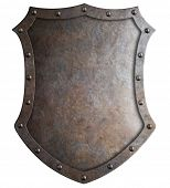 Metal medieval tall shield or coat of arms isolated 3d illustration poster