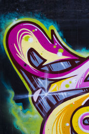 stock photo of street-art  - Colorful segment of a graffiti in Spain - JPG
