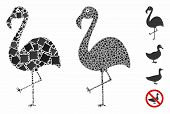 Flamingo Composition Of Humpy Parts In Various Sizes And Color Tinges, Based On Flamingo Icon. Vecto poster