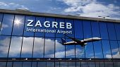 Jet Aircraft Landing At Zagreb, Croatia 3d Rendering Illustration. Arrival In The City With The Glas poster