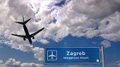 Airplane Silhouette Landing In Zagreb, Croatia. City Arrival With International Airport Direction Si poster