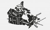 Canada Vintage Poster Map. Poster Map Of Canada With State Names. Canadian Background. Vector Illust poster