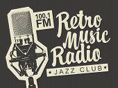 Vector Banner For Radio Station With Studio Microphone And Inscription Retro Music Radio. Radio Broa poster
