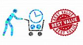 Mosaic Clock Shopping And Rubber Stamp Watermark With Best Value Caption. Mosaic Vector Is Formed Wi poster