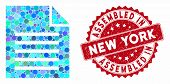 Mosaic Document And Grunge Stamp Watermark With Assembled In New York Caption. Mosaic Vector Is Desi poster