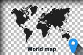 Map Of World, Black Map On A Transparent Background. Alpha Channel Transparency Simulation In Png. V poster