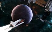 Planet Of Deep Space. Space Station, Shuttle On Background Of Exoplanet. Science Fiction. Elements O poster