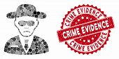 Mosaic Security Agent And Distressed Stamp Seal With Crime Evidence Phrase. Mosaic Vector Is Designe poster
