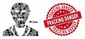 Mosaic Vampire And Corroded Stamp Seal With Fracking Danger Text. Mosaic Vector Is Composed With Vam poster