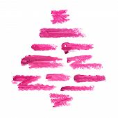 Christmas Tree From The Lipstick Smudges Isolated On White Background. Smudged Makeup Product Sample poster