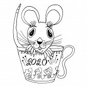 A Cute Funny Rat Is Sitting In A Mug With The Inscription 2020. Isolated Object On White Background. poster