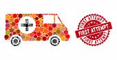 Mosaic Emergency Car And Distressed Stamp Seal With First Attempt Text. Mosaic Vector Is Created Wit poster