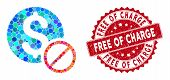 Mosaic Free Of Charge And Grunge Stamp Watermark With Free Of Charge Text. Mosaic Vector Is Formed W poster
