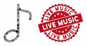 Mosaic Music Note And Distressed Stamp Seal With Live Music Text. Mosaic Vector Is Formed With Music poster