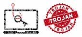 Mosaic Laptop Key Phishing And Grunge Stamp Watermark With Trojan Phrase. Mosaic Vector Is Created W poster